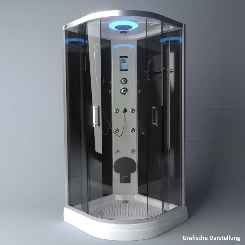 Bild 4: TroniTechnik Duschtempel Fertigdusche Duschkabine Dusche Glasdusche Eckdusche Komplettdusche S100XD2KG01 100x100
