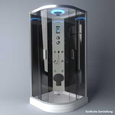 TroniTechnik Duschtempel Fertigdusche Duschkabine Dusche Glasdusche Eckdusche Komplettdusche S100XD2KG01 100x100 – Bild 4