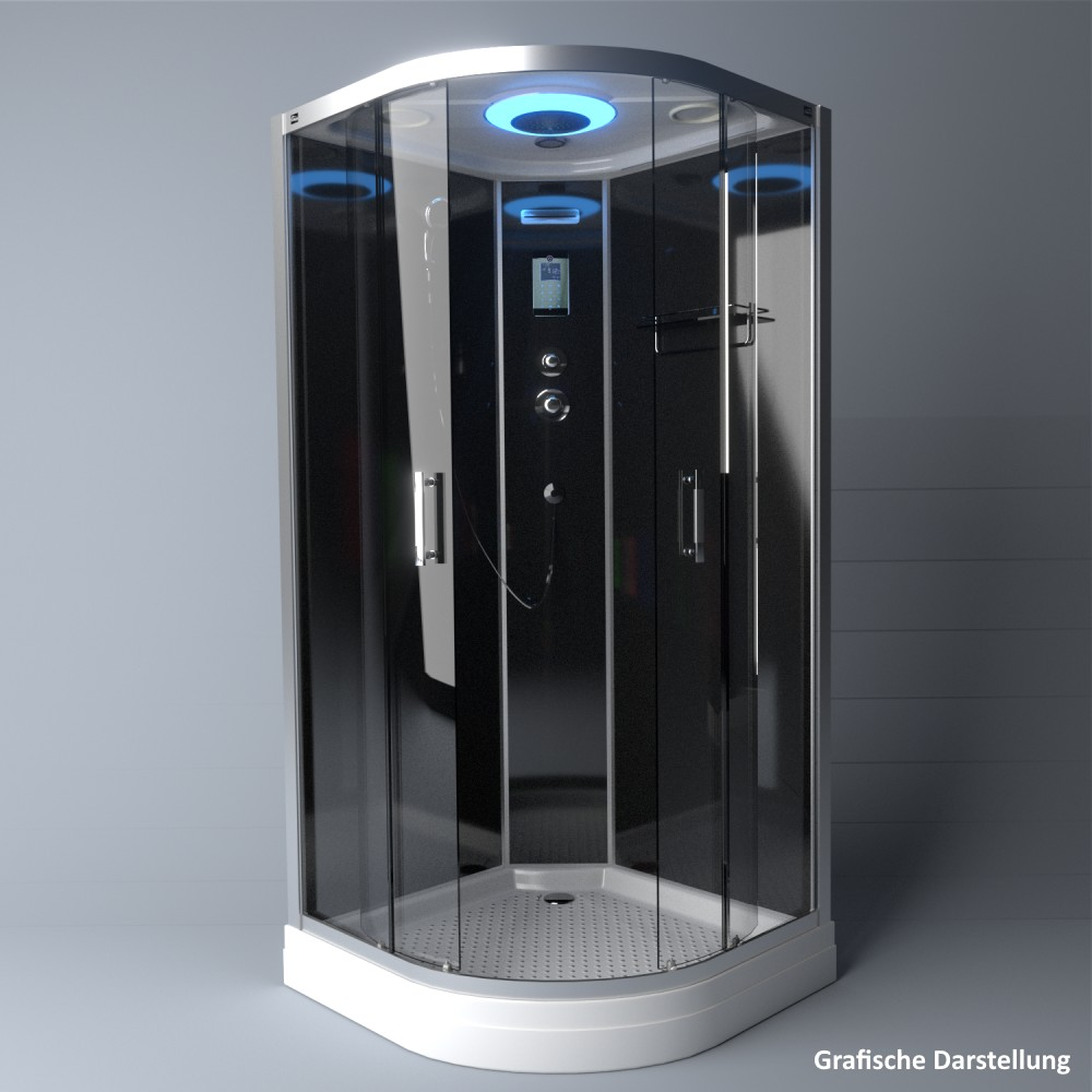 Bild 4: TroniTechnik Duschtempel Fertigdusche Duschkabine Dusche Glasdusche Eckdusche Komplettdusche S100XF1KG01 100x100