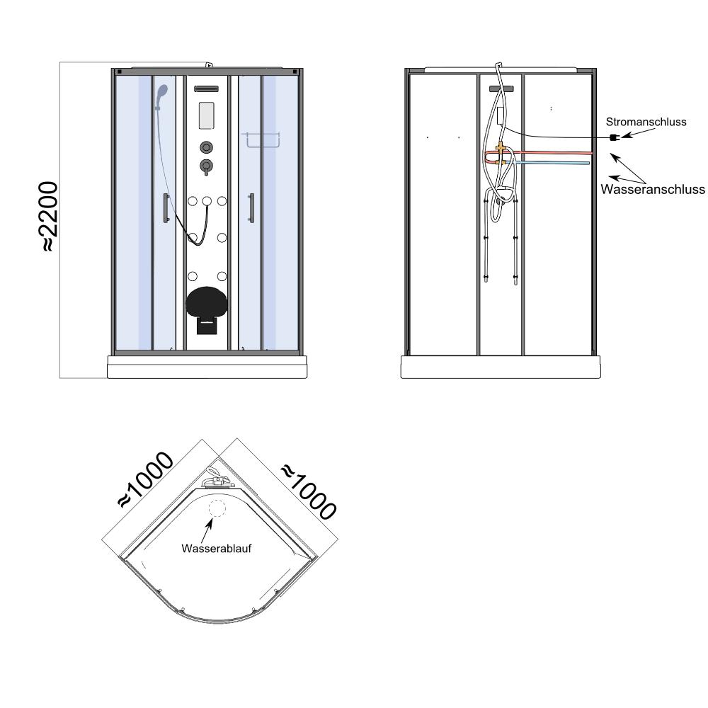 Bild 11: TroniTechnik Duschtempel Fertigdusche Duschkabine Dusche Glasdusche Eckdusche Komplettdusche S100XI2KG01 90x90