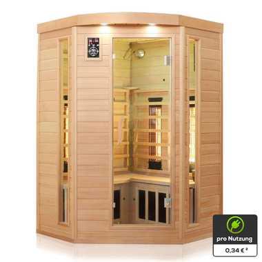 Dewello Infrarotkabine Infrarotsauna Wärmekabine LAKEFIELD 3 120cm x 120cm inkl. Vollspektrumstrahler, Bodenstrahler – Bild 5