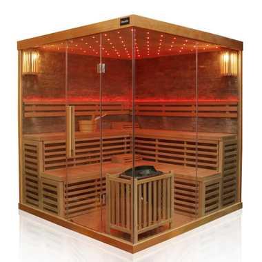 Dewello Finnische Traditionelle Sauna SARNIA PLUS 2 200cm x 200cm inkl. 6 KW Harvia Ofen, Zubehör – Bild 6