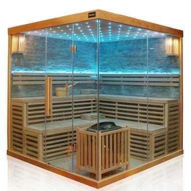 Dewello Finnische Traditionelle Sauna SARNIA PLUS 2 200cm x 200cm inkl. 6 KW Harvia Ofen, Zubehör – Bild 1