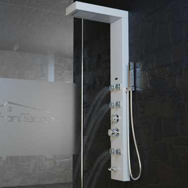 Duschpaneel Duschsäule Duscharmatur APHRODITE Aluminium weiß inkl. Handbrause, Wasserfall, Massage – Bild 9