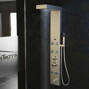 Duschpaneel Duschsäule Duscharmatur APHRODITE Edelstahl inkl. Handbrause, Wasserfall, Massage – Bild 8