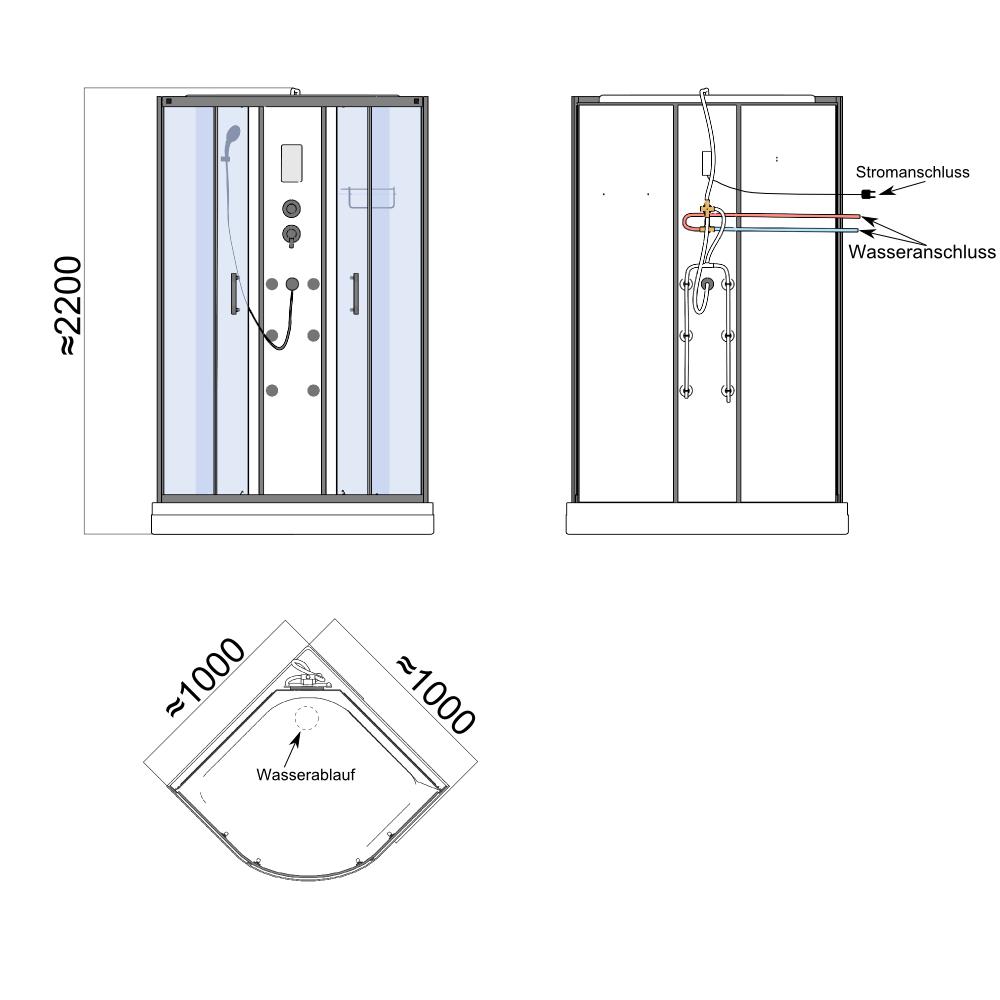 Bild 12: TroniTechnik Duschtempel Fertigdusche Duschkabine Dusche Glasdusche Eckdusche Komplettdusche S100XC2HG01 100x100