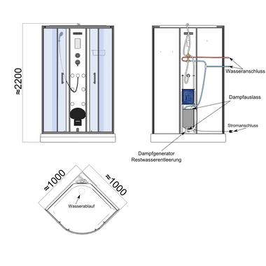 TroniTechnik Dampfdusche Dusche Fertigdusche Duschkabine Dampfsauna Eckdusche Komplettdusche S100XE1HG01 100x100 – Bild 13
