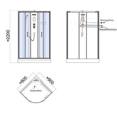 TroniTechnik Duschtempel Fertigdusche Duschkabine Dusche Glasdusche Eckdusche Komplettdusche S090XF2HG01 90x90 – Bild 12