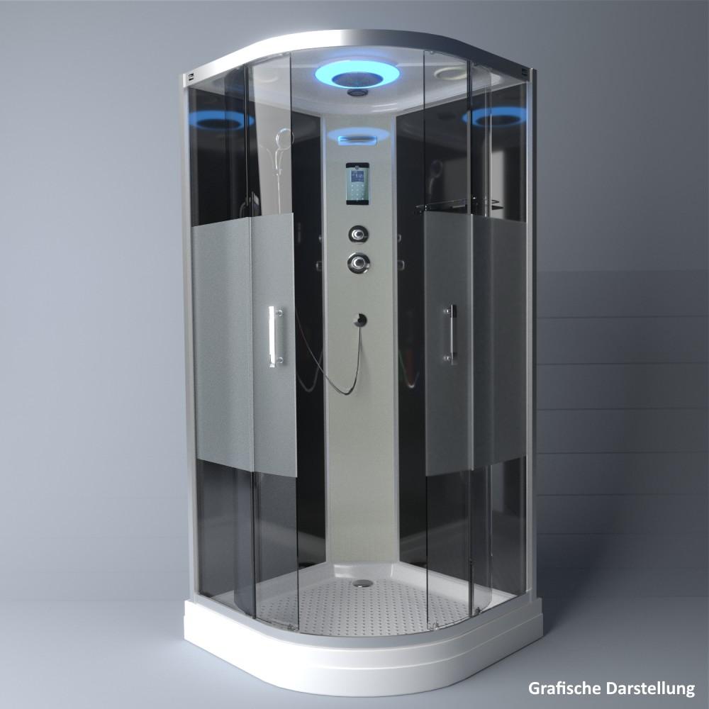 Bild 3: TroniTechnik Duschtempel Duschkabine Dusche Glasdusche Eckdusche Komplettdusche S100XF2HG01 100x100