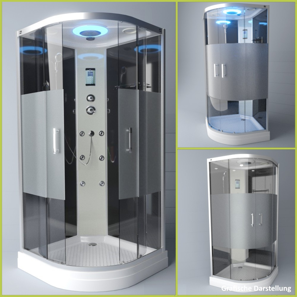 Bild 3: TroniTechnik Duschtempel Duschkabine Dusche Glasdusche Eckdusche Komplettdusche S090XH2HG01 90x90
