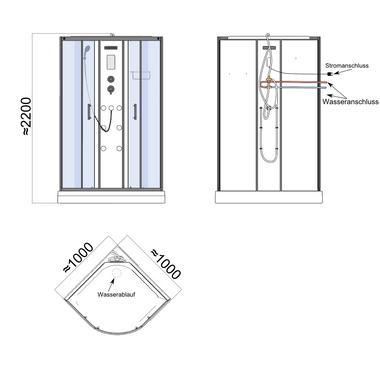 TroniTechnik Duschtempel Duschkabine Dusche Glasdusche Eckdusche Komplettdusche S100XH2HG01 100x100 – Bild 11