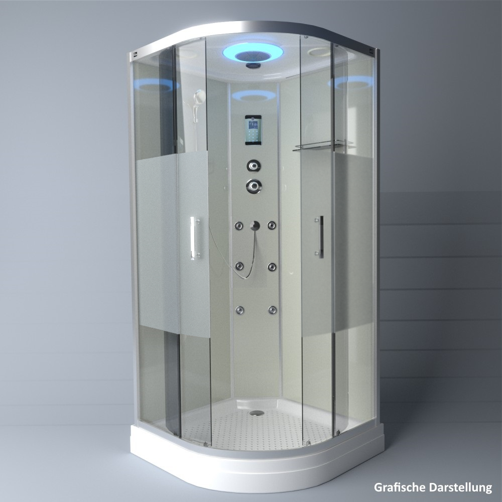Bild 4: TroniTechnik Duschtempel Duschkabine Dusche Glasdusche Eckdusche Komplettdusche S100XC2HG02 100x100
