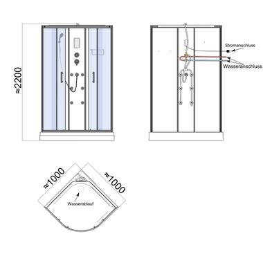 TroniTechnik Duschtempel Duschkabine Dusche Glasdusche Eckdusche Komplettdusche S100XC2HG02 100x100 – Bild 12