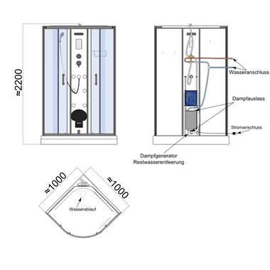 TroniTechnik Dampfdusche Dusche Fertigdusche Duschkabine Dampfsauna Eckdusche Komplettdusche S100XE1HG02 100x100 – Bild 12