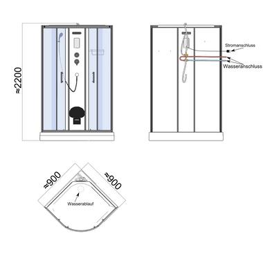 TroniTechnik Duschtempel Duschkabine Dusche Glasdusche Eckdusche Komplettdusche S090XG2HG02 90x90 – Bild 12