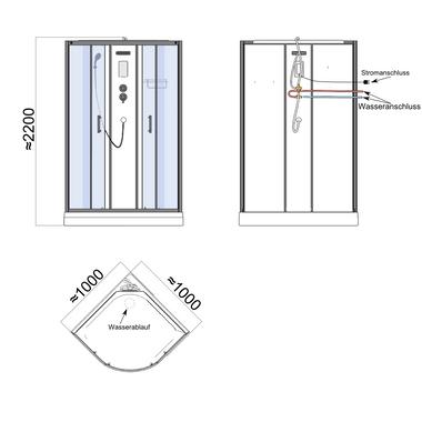 TroniTechnik Duschtempel Duschkabine Dusche Glasdusche Eckdusche Komplettdusche S100XF2EG01 100x100 – Bild 11