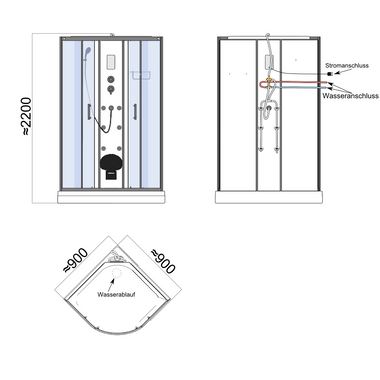 TroniTechnik Duschtempel Duschkabine Dusche Glasdusche Eckdusche Komplettdusche S090XD2EG02 90x90 – Bild 11