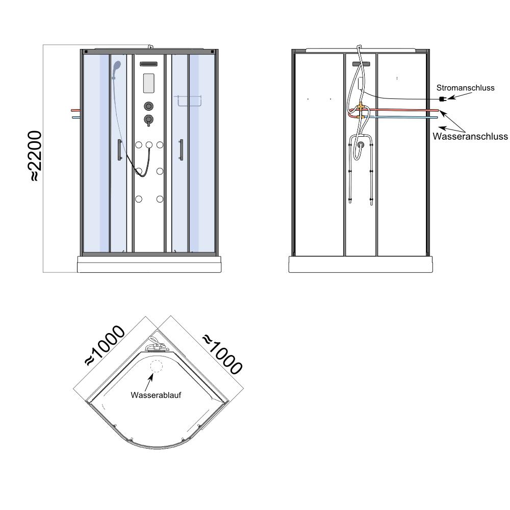 Bild 11: TroniTechnik Duschtempel Duschkabine Dusche Glasdusche Eckdusche Komplettdusche S100XH1EG02 100x100