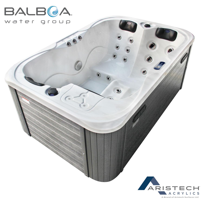 TroniTechnik Outdoor Whirlpool Spa TINO Weiß Silber Marmoriert