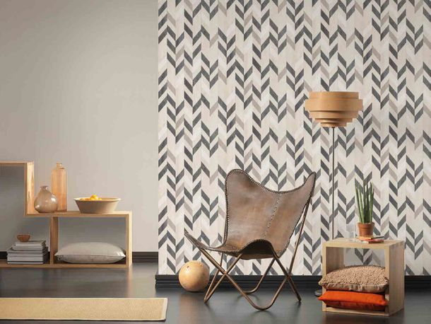 Non-Woven Wallpaper lines structured beige gloss 7855-41 online kaufen