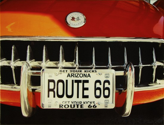 Canvas print Picture Route 66 Corvette red 46x61 canvas