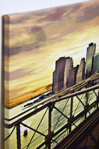 leinwand wandbild 46x61 manhattan taxi brooklyn bridge. Black Bedroom Furniture Sets. Home Design Ideas