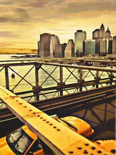 Canvas print Picture Manhattan Taxi Brooklyn Bridge 46x61 canvas