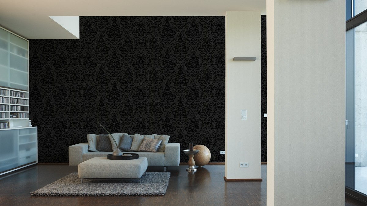 Non Woven Wallpaper Baroque Anthracite Livingwalls Flock 4 2554 26 255426
