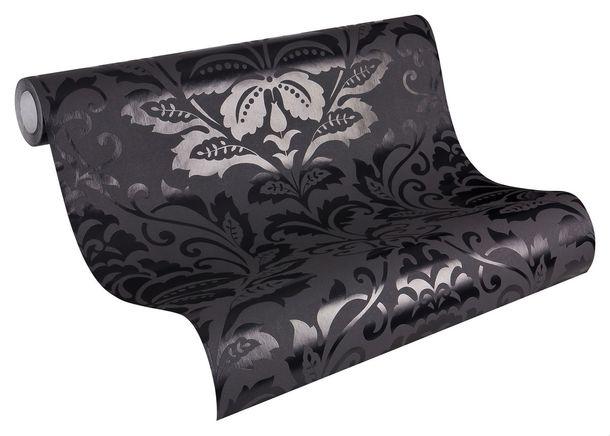 non-woven wallpaper baroque anthracite livingwalls Flock 4 2554-26 255426 online kaufen