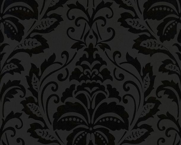 non-woven wallpaper baroque anthracite livingwalls Flock 4 2554-26 255426