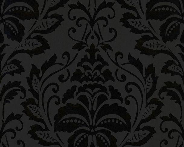 Vliestapete Barock floral anthrazit livingwalls Flock 4 2554-26