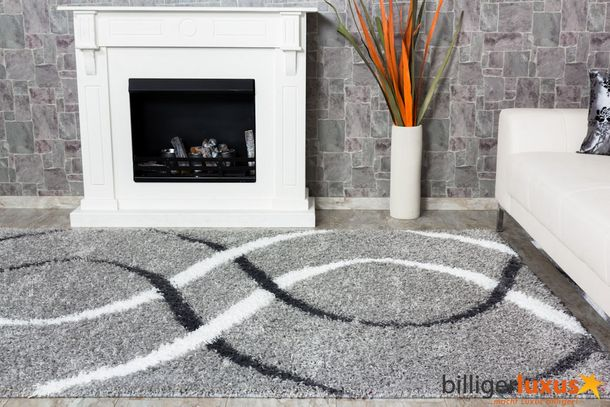 Carpet / rug Shaggy Portfino about 230 cm x 160 cm / 90.55 '' x 62.99 '' grey white online kaufen