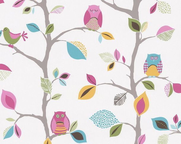 Kids Wallpaper Owls Trees Leaves white colourful 8563-26