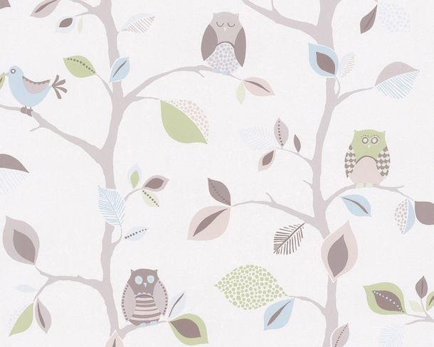 Kids Wallpaper Owls Trees Leaves white grey 8563-33