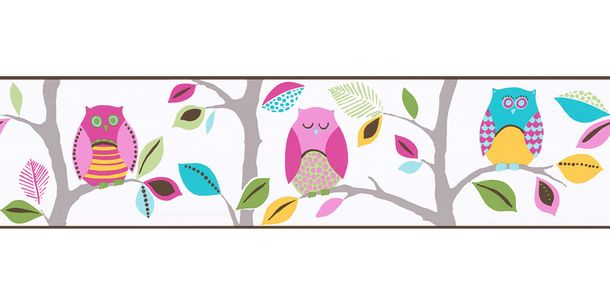 Wallpaper Border Kids Owl colourful self-adhesive 8955-23