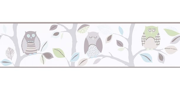 Wallpaper Border Kids Owl white grey self-adhesive 8955-30
