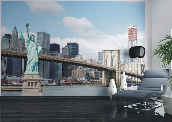 fototapete new york freiheitsstatue nyc skyline 360x270cm. Black Bedroom Furniture Sets. Home Design Ideas