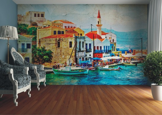 Wall picture wallpaper Italy harbour Comer See oil painting photo 360 cm x 270 cm / 3.94 yd x 2.95 yd  online kaufen