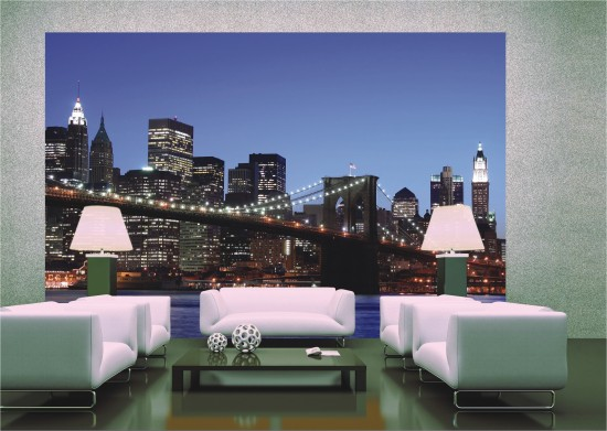 Fototapete Tapete Brooklyn Bridge New York Skyline NYC Foto 360 cm x 254 cm online kaufen