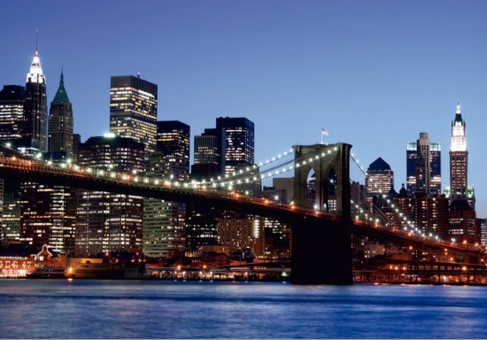 Wall mural wallpaper Brooklyn Bridge New York skyline NYC photo 360 cm x 254 cm / 3.94 yd x 2.78 yd online kaufen