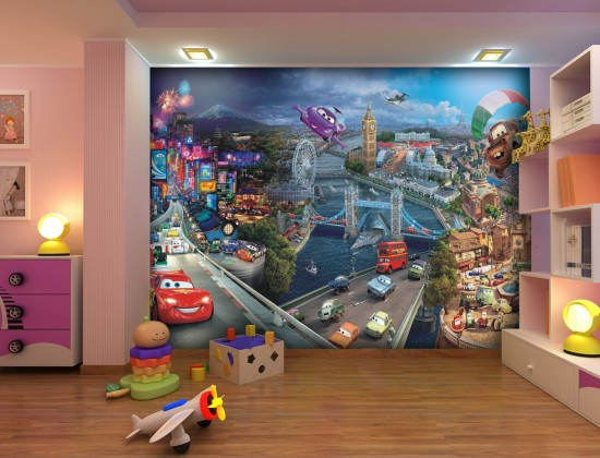 Wall mural wallpaper Cars 2 cities Pixar kids wallpaper photo 360 cm
