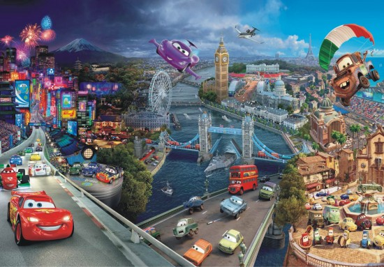 Wall mural wallpaper Cars 2 cities Pixar kids wallpaper photo 360 cm x 254 cm / 3.94 yd x 2.78 yd online kaufen