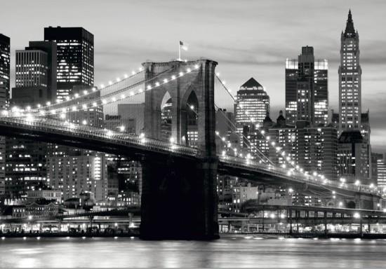 Fototapete Tapete Brooklyn Bridge schwarz weiß New York Foto 360 cm ...