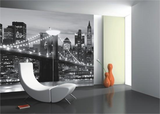 fototapete tapete brooklyn bridge schwarz wei new york foto 360 cm x 254 cm online kaufen - Fototapete Grau Wei