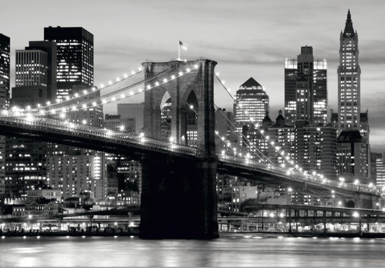 Wall mural wallpaper Brooklyn Bridge black white New York photo 360 cm x 254 cm / 3.94 yd x 2.78 yd online kaufen