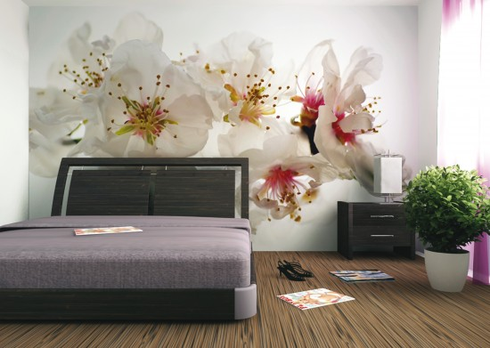 Wall mural wallpaper cherry blossom flower white photo 360 cm x 270 cm / 3.94 yd x 2.95 yd  online kaufen