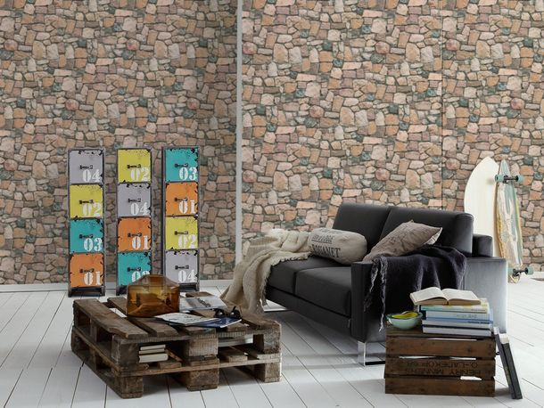 Wallpaper 3D Rubble Work Wall beige red brown 6924-12 online kaufen