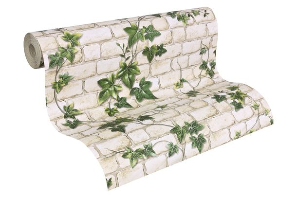 wallpaper stone optics ivy cream green wallpaper AS Creation Decora Natur 6 9804-34 980434 online kaufen
