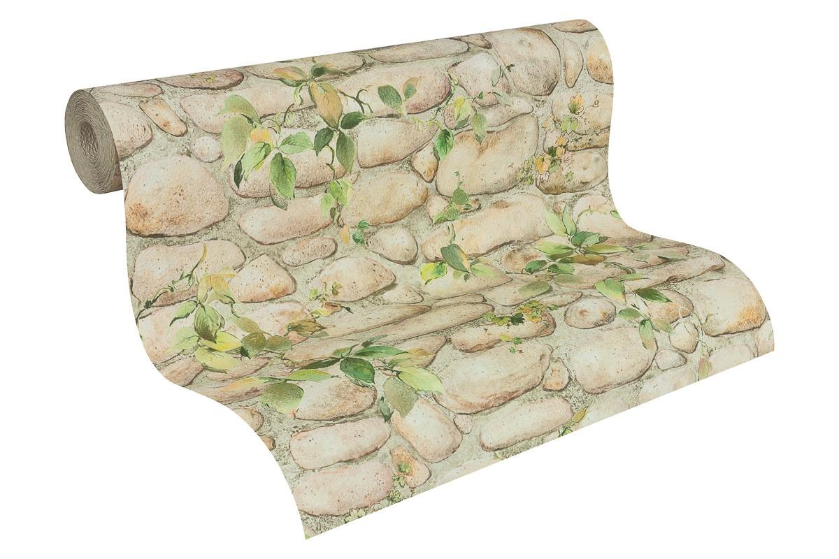 wallpaper stone optics vines beige green wallpaper AS ...