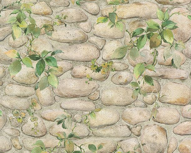 wallpaper stone optics vines beige green wallpaper AS Creation Decora Natur 6 8344-16 834416